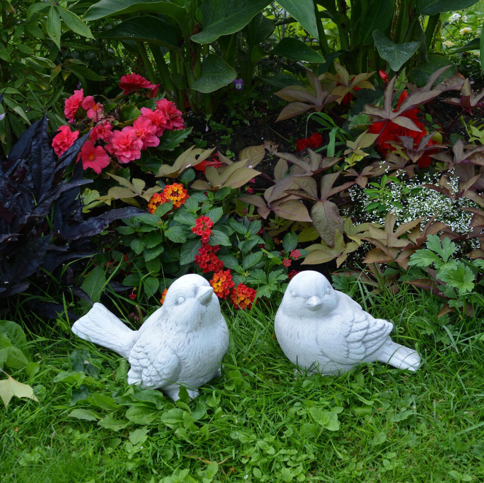 Macizo Figuras de Piedra Piezas 2 Pájaros Pájaro Set Moldeada Resistente Heladas