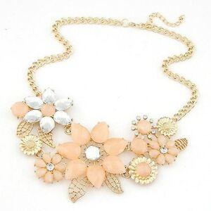 New-Womens-Flower-Pendant-Choker-Bib-Statement-Fashion-Chain-Necklace-UK-Seller