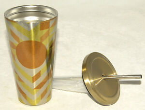 STARBUCKS - Gold Chevron - STAINLESS COLD CUP / Tumbler *w/ METAL STRAW 2014 NEW | eBay