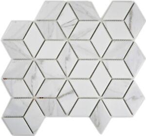Mosaik-Fliese-Keramik-weiss-Diamant-POV-Carrara-Kueche-Bad-13-0102-f-10-Matten
