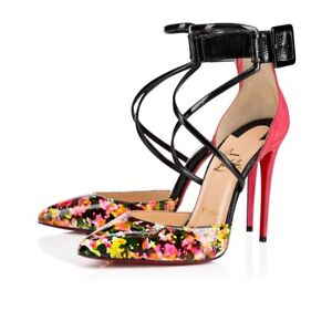 7d3f201518d4 Image is loading Christian-Louboutin-Suzanna-100-Black -Pink-CrissCross-Ankle-