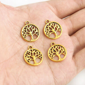 20x-Gold-Plated-Tree-Of-Life-Round-Charm-Pendant-15-18MM-DIY-Jewelry-Craft
