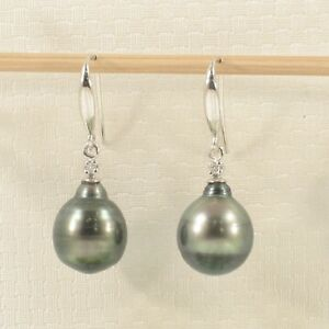 The-Exotic-Tahitian-Pearl-Hook-Earrings14k-White-Solid-Gold-amp-2-Diamonds-TPJ