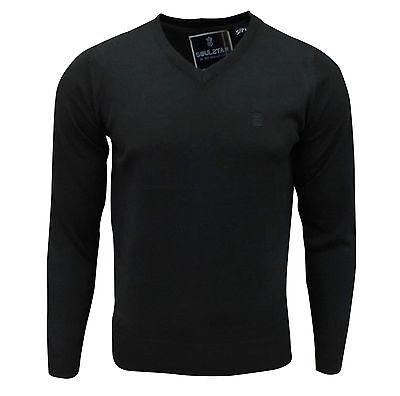 Soul Star Men's Alpha Vee V-Neck Knitted Jumper Black