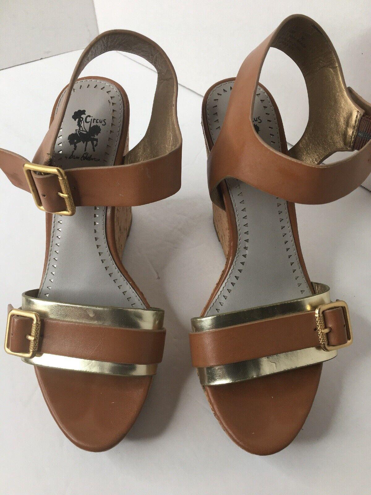 3aedd450b4574 Circus by Edelman Women's Cork Wedge Sawyer gold & Tan Sandals Size ...