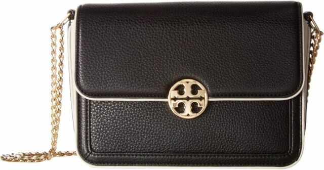 95c692b1881 Tory Burch 31332 Duet Large Chain Convertible Shoulder Bag Black ivory  03255402