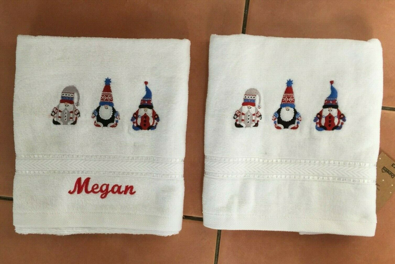 Gonk Personalised Embroidered Hand Towel with tag