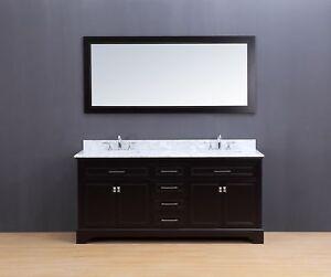 72 Double Sink Bathroom Vanity Set White Carrera Marble Espresso