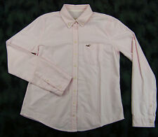 NWT Hollister Womens Long Sleeve Button Front Dress Shirt Pink White Stripe sz L