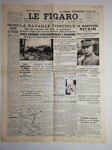 N1161-La-Une-Du-Journal-Le-Figaro-19-Mai-1940-bataille-Continue-Petain
