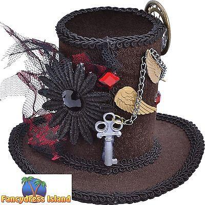 STEAMPUNK HALLOWEEN MINI TALL TOP HAT - womens ladies fancy dress costume