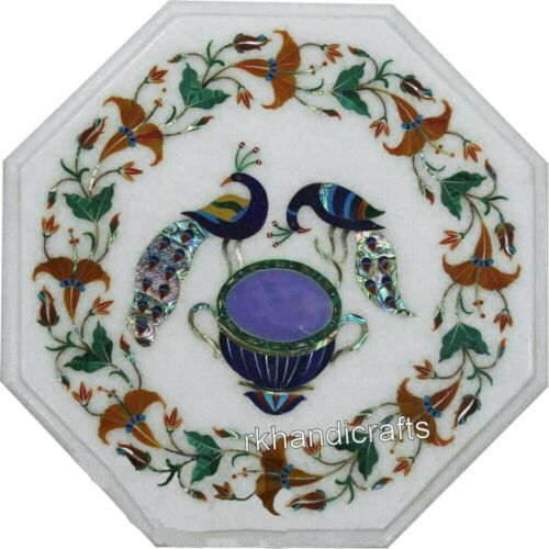Marble Corner Table Top Peacock Art Coffee Table with Hand Inlaid Multi Gemstone