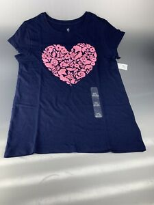 GAP Kids Blue T-shirt with Printed Graphic Pink Flowers Heart Size XXL(14-16)