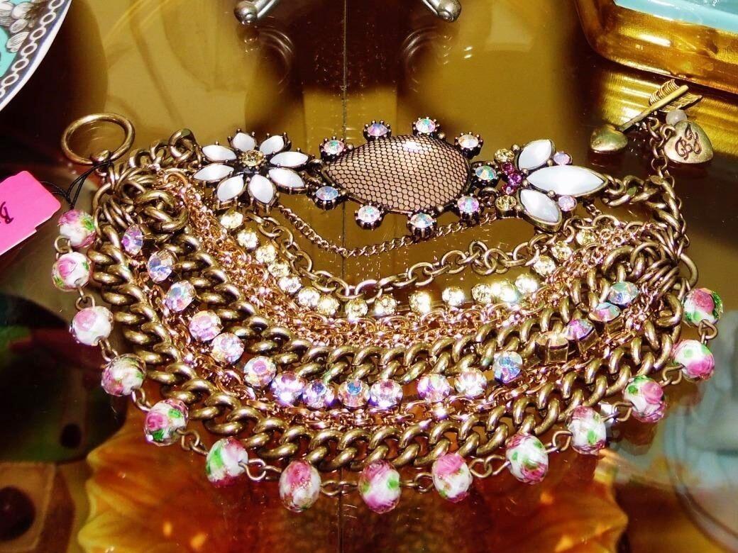 Betsey Johnson RARE Bracelet PINK pinkBUD Floral MULTI CHAIN Crystal STATEMENT