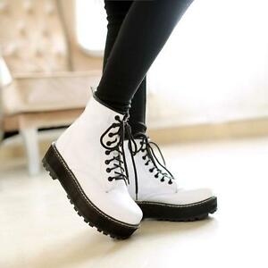Stylish-Ankle-Punk-Boot-Flat-Platform-Womens-Lace-Up-Creeper-Goth-Shoes-Boots-SZ