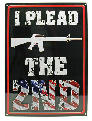 """i Plead The 2nd"" 2nd Amendment Tin Sign 12x17 Numerous In Variety"