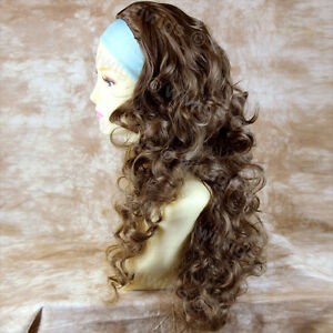 Wiwigs-Light-Brown-3-4-Fall-Long-Layered-Curly-Hairpiece-Half-Ladies-Wig