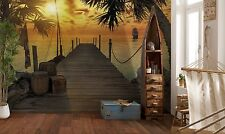 "Wall mural TROPICAL ISLAND  ""TREASURE PIRATES ISLAND"" photo wallpaper SUNSET"