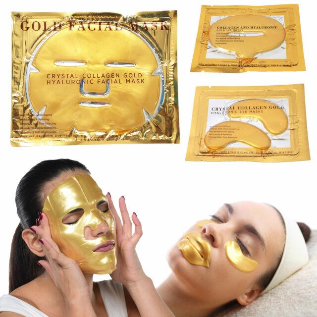 24K Gold Face Eye Lip Mask Collagen Crystal Anti-wrinkle Anti-aging Dark Circles
