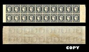 FRANCE-1849-20c-Black-LARGE-BLOCK-OF-20-COPY