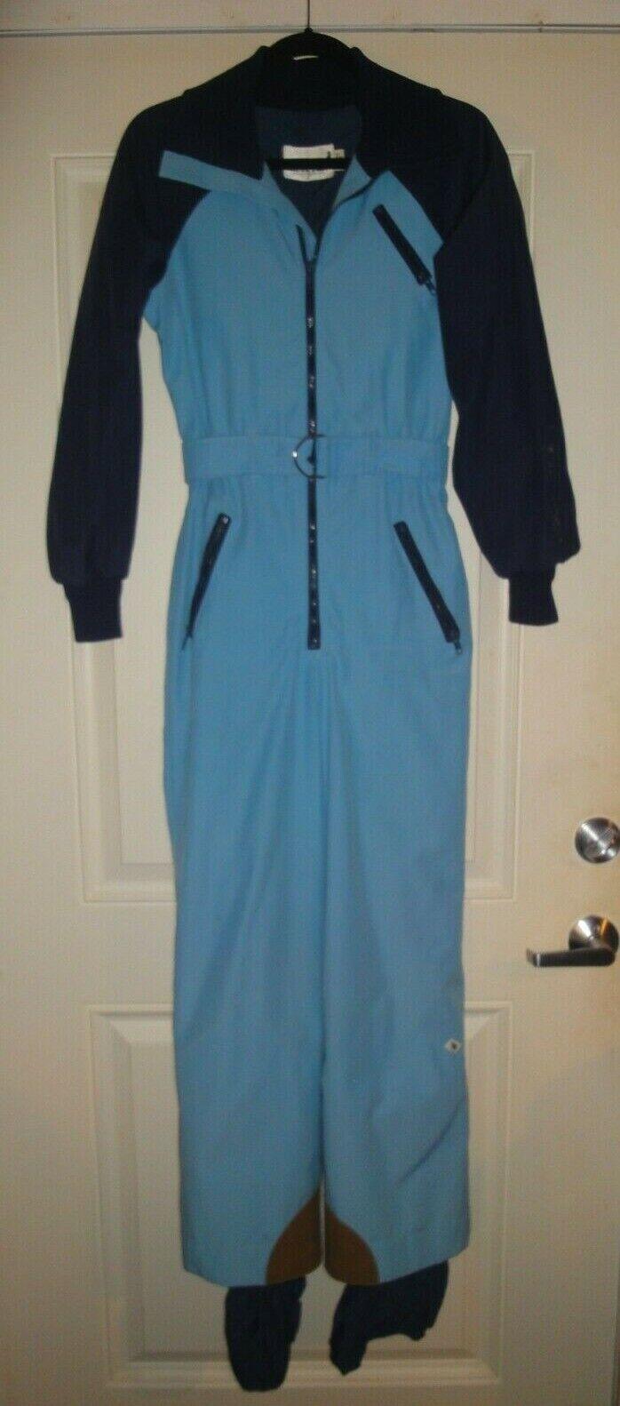 Mother Karen's Ladies One Piece Ski Snow Suit - 7 8 - Light & Dark bluee
