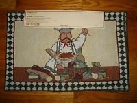 Home Impressions Tapestry Placemats Italian Chef Pasta Spaghetti Bread Checkered