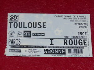 COLLECTION-SPORT-FOOTBALL-TICKET-PSG-TOULOUSE-7-MARS-1998-Champ-France