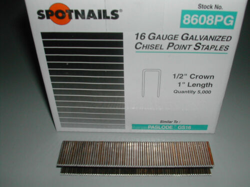 """Spotnails 8608pg 1//2/"""" Crown Staples 16 Gauge 1/"""" for Paslode Dewalt 10,000"""