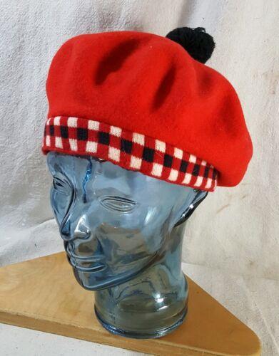 Classic Red Wool Beret Tam Checkered Black Pom Pom
