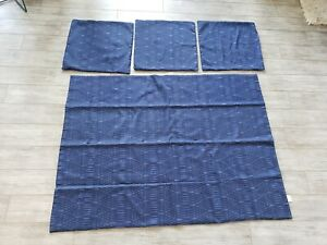 EUC-Frette-Blue-Partial-Coverlet-Bedscarf-amp-3-Euro-Square-Pillow-Cover-Set