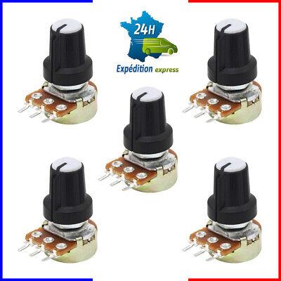 5pcs Potentiomètre Rotatif 10k Ohm Linéaire Avec écrous Rondelles + Boutons Noir