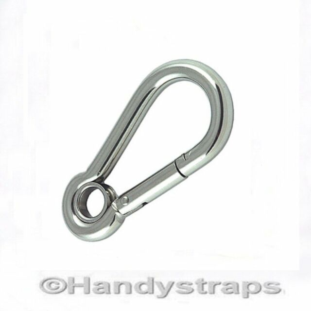 10mm x 100mm Stainless Steel Carbine Snap Hook With Eyelet Marine Carabiner