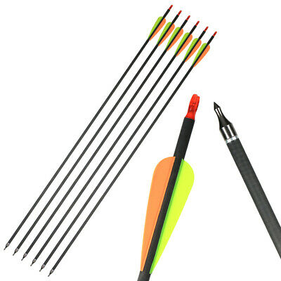 "12pcs 30/"" Archery Hunting Mix Carbon Arrow for Compound Recurve bow with point"