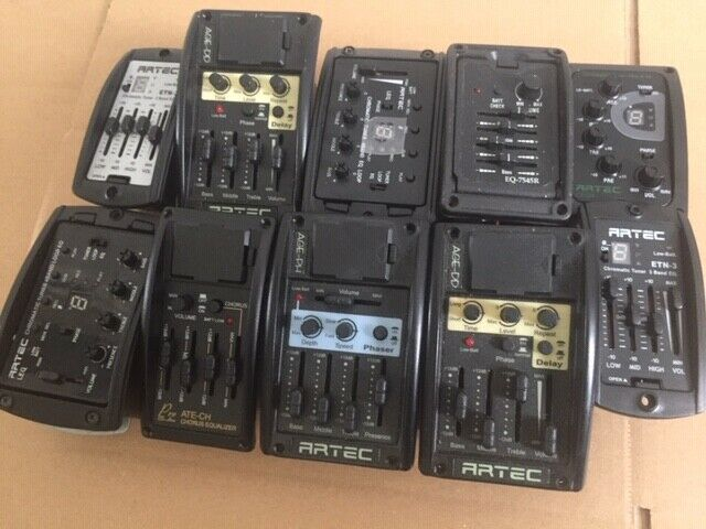 Job lot of Artec pickups preamps and electrics sold as spares or repair