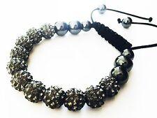 USA Bracelet using Swarovski Crystal Ball Handmade Sizable Gray beads Shamballa