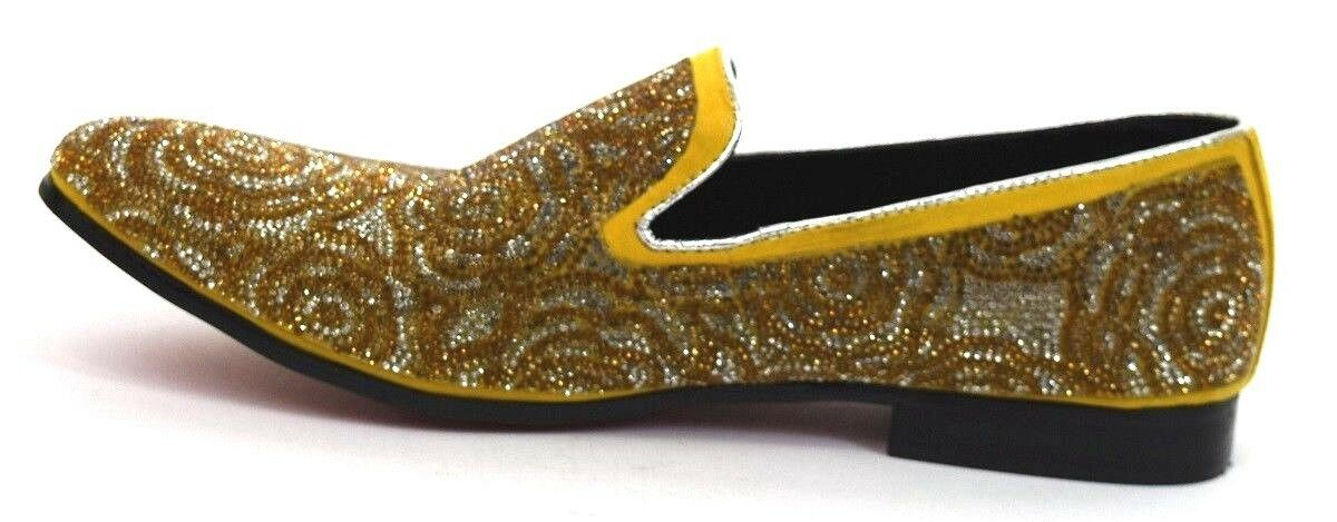Uomo Dress Casual Fancy scarpe Slip On On On Loafers giallo oro Rhinestones FIESSO 10 99c591