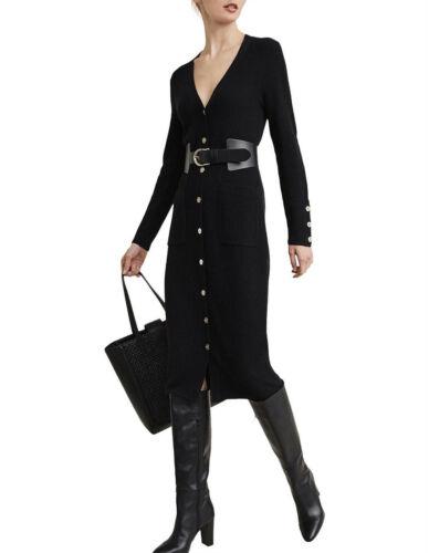 NWT $170 WITCHERY Button Front Wool Blend Midi Knit DRESS BLACK  XS S M L XL