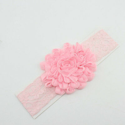 Newborn Infant Baby Girls Kids Flower Soft Lace Elastic Band Headband Hairband