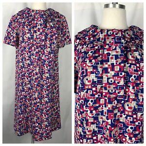 VTG 60S Plus Size Geometric Ascot Collar Shift Short Sleeve Dress ...