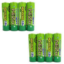 8 pcs 2500mWh 1.6V Volt AA 2A NiZn Rechargeable Battery Cell PowerGenix US Stock