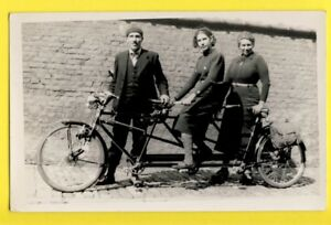Carte-Photo-BICYCLETTE-VELO-Triplette-TANDEM-a-3-places-three-seater-Tandem-BIKE