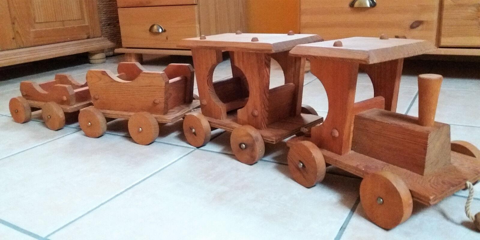 Großer massiver Holzzug mit 3 Anhängern-Handarbeit-Natur geölt-Gesamtl.108cm