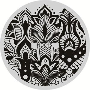 Nagel Kunst Schablone Stamping Rund Platte Maniku00fcre Floral Muster Neu ND015 | EBay