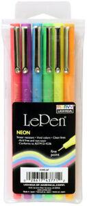 Marvy-Uchida-LePen-Micro-Fine-Plastic-Point-Acid-Free-Le-Pen-Neon-6-Colors-Set