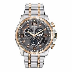 Citizen-Eco-Drive-Men-039-s-BY0106-55H-A-T-Atomic-Chronograph-Two-Tone-44mm-Watch