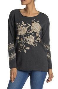 Johnny-Was-Floral-Embroidered-Gray-Thermal-Top-Womens-Size-Large