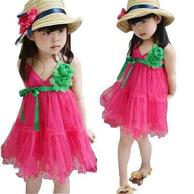 Kids Toddlers Girls Flowers Multi-Layer Tulle Pompon Sundresses Dress 3-8 Y D193