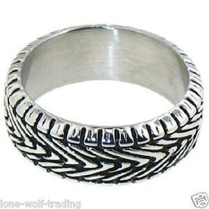 Stainless Steel Biker Motorcycle Tire Tread Ring Wedding Band Unisex SR3064