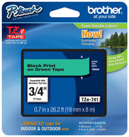 Brother 3/4 (18mm) Black On Green P-touch Tape For Pt1800, Pt-1800 Label Maker