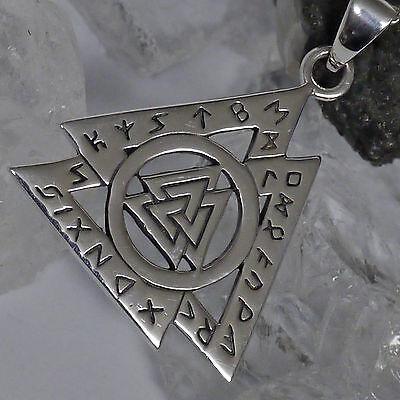 Peter Stone Wikinger Valknut Wotansknoten Amulett 925 Silber Futhark Runen M2